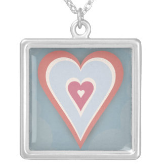 red, white,and  blue love heart  - necklace