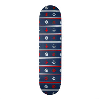 Red White And Blue Nautical Pattern 21.3 Cm Mini Skateboard Deck