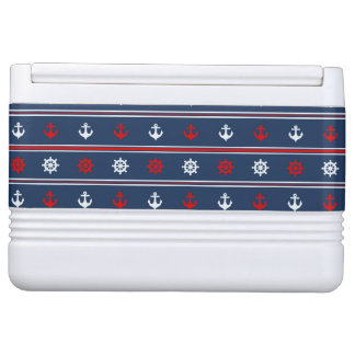 Red White And Blue Nautical Pattern Igloo Cooler