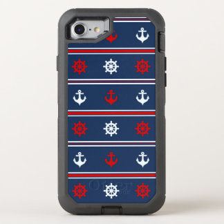 Red White And Blue Nautical Pattern OtterBox Defender iPhone 8/7 Case