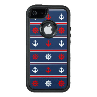 Red White And Blue Nautical Pattern OtterBox Defender iPhone Case