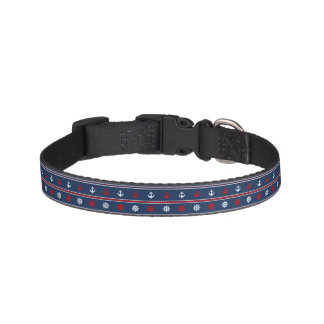 Red White And Blue Nautical Pattern Pet Collar