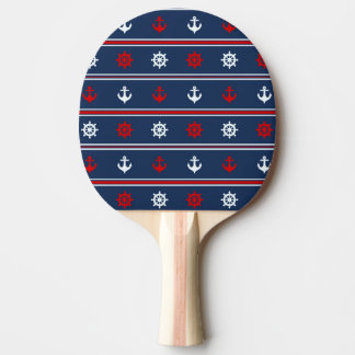 Red White And Blue Nautical Pattern Ping Pong Paddle