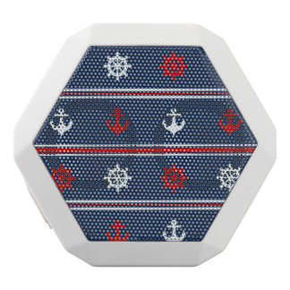 Red White And Blue Nautical Pattern White Bluetooth Speaker