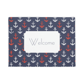 Red White And Blue Navy Pattern | Add Your Text Doormat