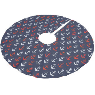Red White And Blue Navy Pattern Brushed Polyester Tree Skirt