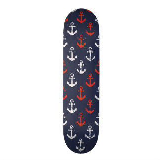 Red White And Blue Navy Pattern Custom Skate Board