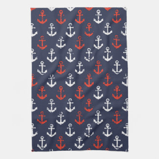Red White And Blue Navy Pattern Hand Towel