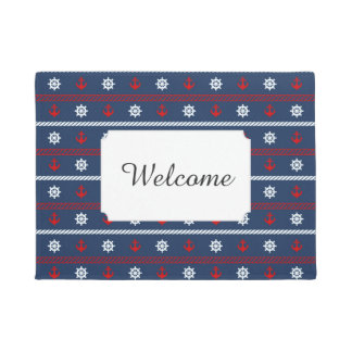 Red White And Blue Ocean Pattern | Add Your Text Doormat