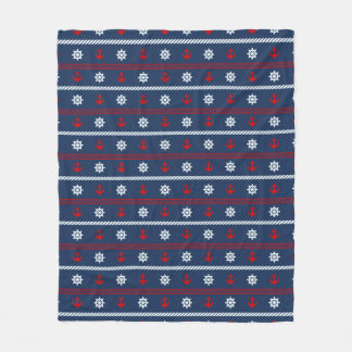 Red White And Blue Ocean Pattern Fleece Blanket