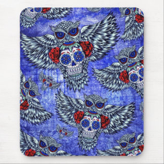 Red white and blue owl with sugar skull pattern mouse pad