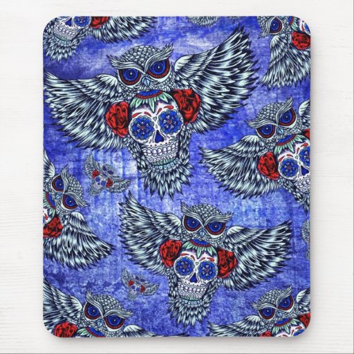 Red white and blue owl with sugar skull pattern mousepad