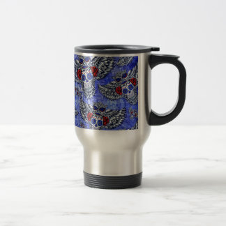 Red white and blue owl with sugar skull pattern coffee mugs