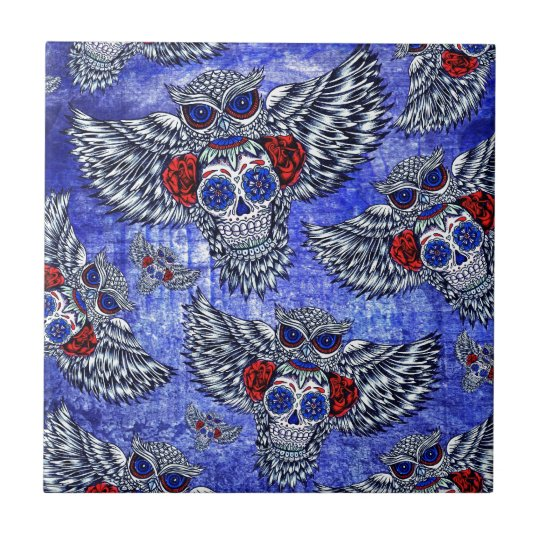 Red white and blue owl with sugar skull pattern small square tile