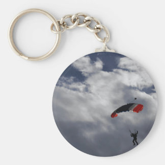 Red white and Blue Parachute with clouds Key Ring