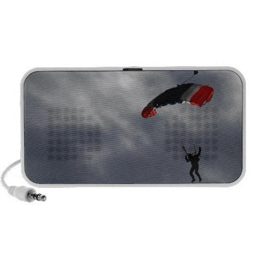 Red white and Blue Parachute with clouds iPhone Speaker