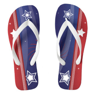 Red White and Blue Patriotic Flip Flops