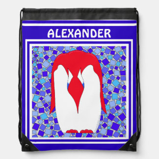 Red White And Blue Patriotic Penguin July 4th Drawstring Bags