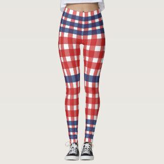 Red  White and Blue Patriotic Plaid Leggings