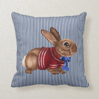 Red White and Blue Patriotic Rabbit Decorative Cushion
