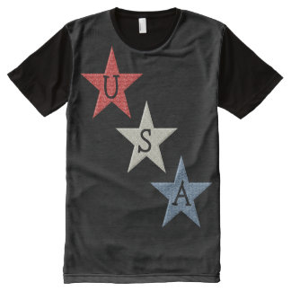 Red, White and Blue Patriotic Stars All-Over Print T-Shirt