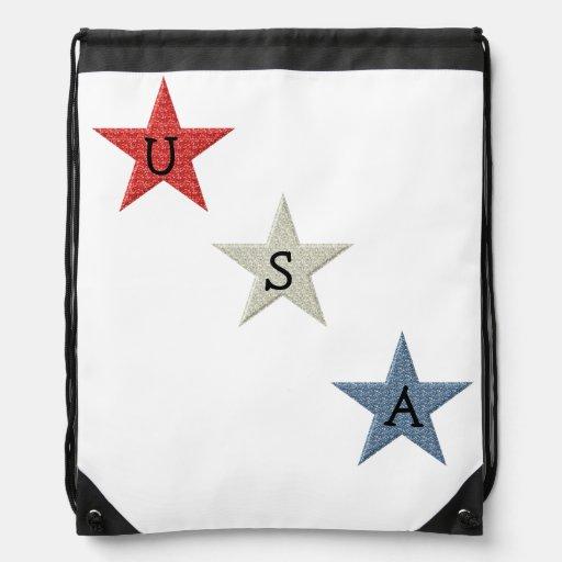 Red, White and Blue Patriotic Stars Drawstring Bag