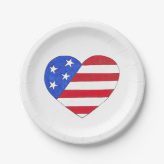 Red White and Blue Patriotic USA Flag Heart Plates
