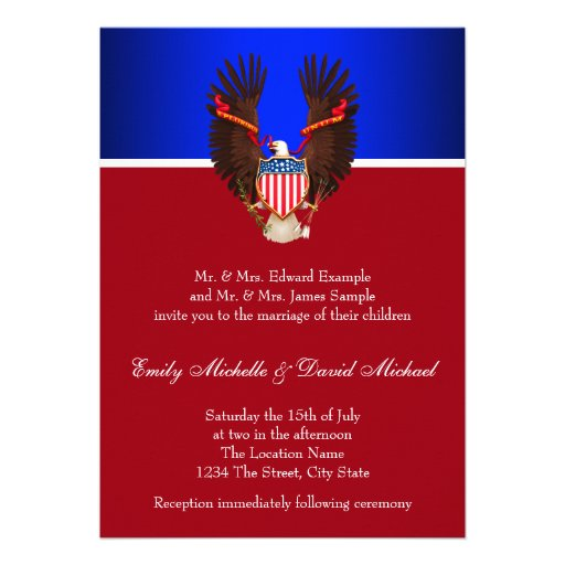 """Red, White And Blue Patriotic Wedding Invitations 5"""" X 7"""