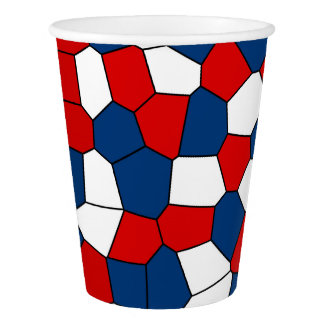 Red, White and Blue Pattern Paper Cup