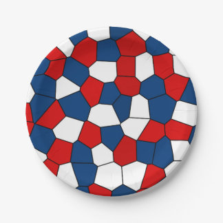 Red, White and Blue Pattern Paper Plate