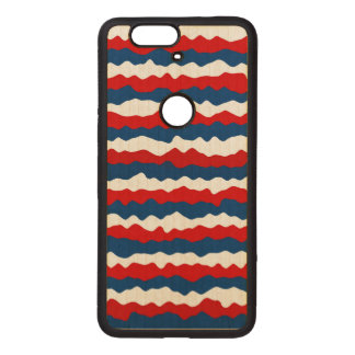 Red, White and Blue Pattern Wood Nexus 6P Case
