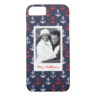Red White And Blue Pattern | Your Photo & Name iPhone 8/7 Case