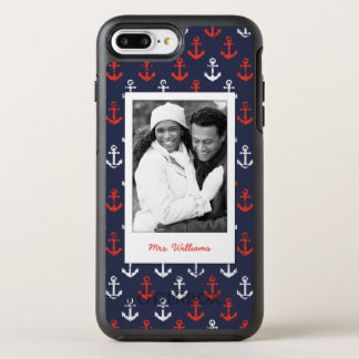 Red White And Blue Pattern | Your Photo & Name OtterBox Symmetry iPhone 7 Plus Case