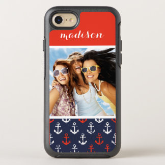 Red White And Blue Pattern | Your Photo & Name OtterBox Symmetry iPhone 8/7 Case