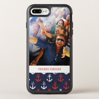 Red White And Blue Pattern   Your Photo & Text OtterBox Symmetry iPhone 8 Plus/7 Plus Case