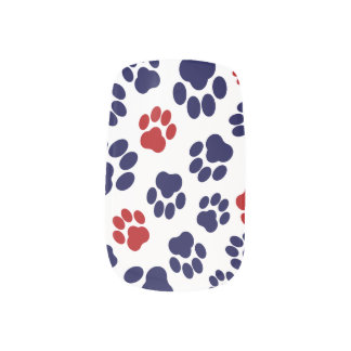 Red, White, and Blue Paw Print Nail Art