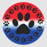 Red White and Blue Paw Prints Circle Classic Round Sticker
