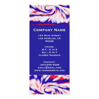 red white and blue personalised rack card