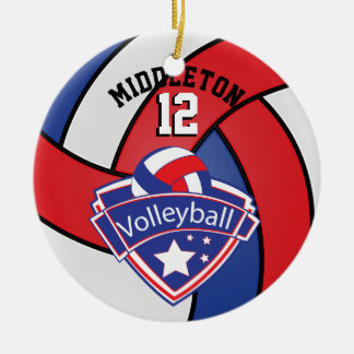 Red, White and Blue Personalize Volleyball Christmas Ornament