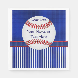 Red, White and Blue Personalized Baseball Napkins Disposable Serviettes
