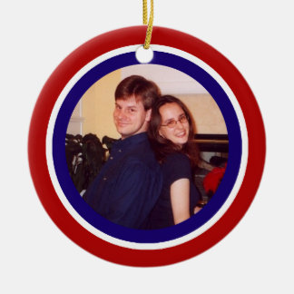 Red, White and Blue Photo Frame Christmas Ornament