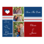 Red White and Blue Photo Squares Save The Date
