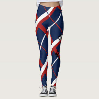 Red White and Blue Plaid Leggings