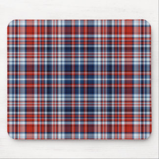 Red White and Blue Plaid Mousepad
