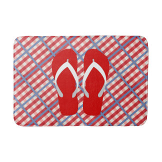 Red, White and Blue Plaid with Flip Flops Bath Mat