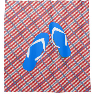 Red, White and Blue Plaid with Flip Flops Shower Curtain