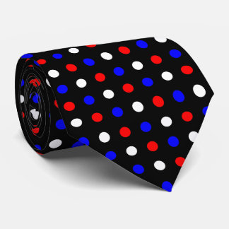 Red White and Blue Polka Dots on Black Tie