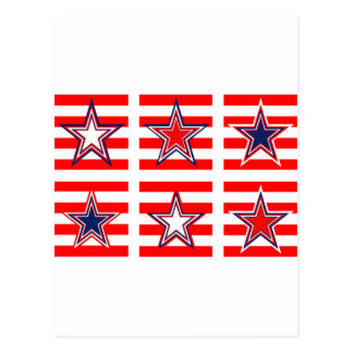 red,white and blue postcard