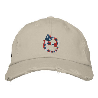 Red White and Blue Rattler Embroidered Hat