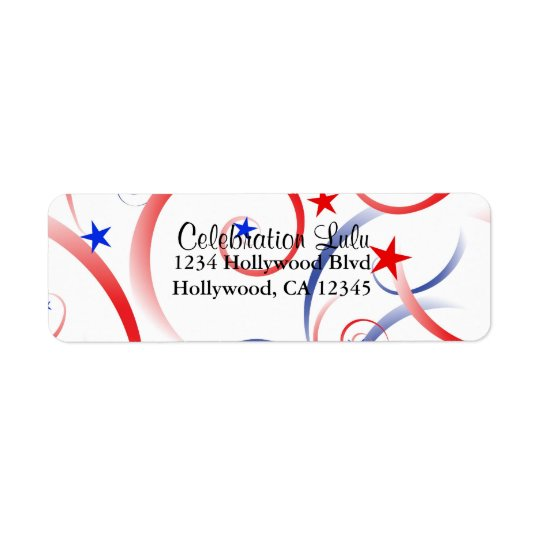 Red White and Blue Return Address Label
